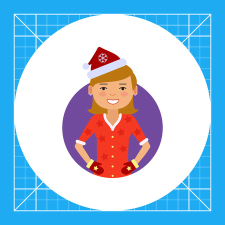santa costume: Female character, portrait of smiling woman wearing Santa costume and mittens Illustration