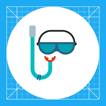 swimming glasses: Snorkel and mask for scuba diving. Breathing, underwater, fun. Snorkeling equipment concept. Can be used for topics like summer, vacation, snorkeling.
