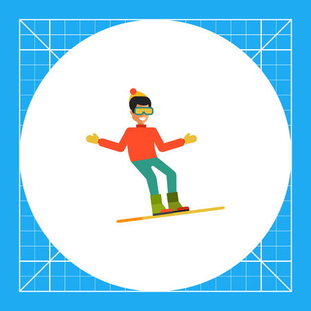 Multicolored vector icon of young man on snowboard