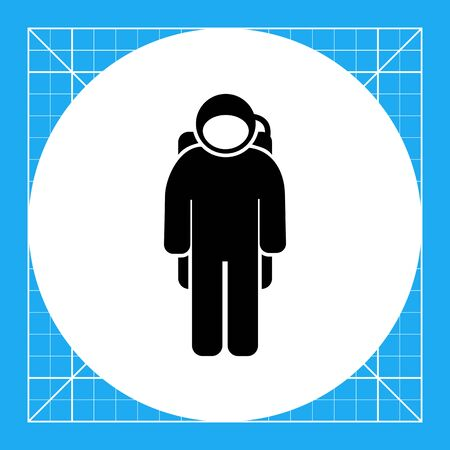 weightlessness: Spaceman wearing spacesuit. Space, orbit, weightlessness. Spaceman concept. Can be used for topics like cosmonautics, technology, science.