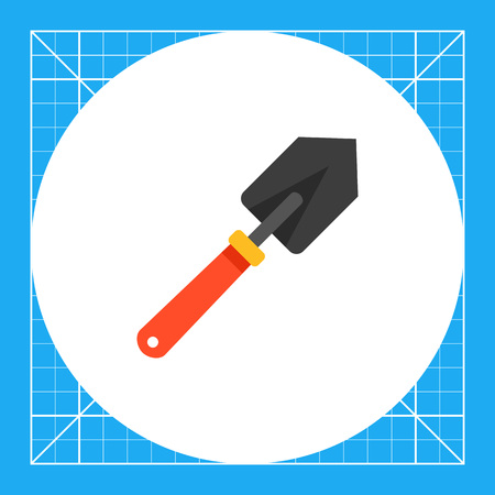 Multicolored vector icon of small spade with red handle