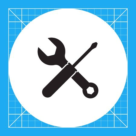 Vector icon of crossed spanner and screwdriver