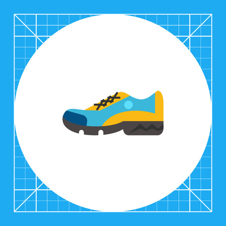 One blue and yellow sport shoe. Foot, running, protection. Sport shoes concept. Can be used for topics like sport, health, sports footwear. Illustration