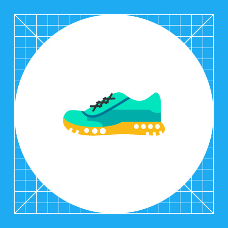 sole on foot: One blue sport shoe on yellow sole. Foot, running, protection. Sport shoes concept. Can be used for topics like sport, health, sports footwear.