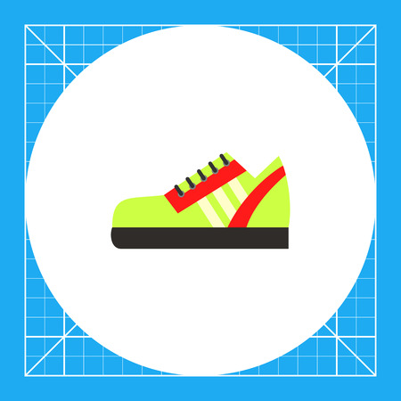One green sport shoe with red strips. Foot, running, protection. Sport shoes concept. Can be used for topics like sport, health, sports footwear.