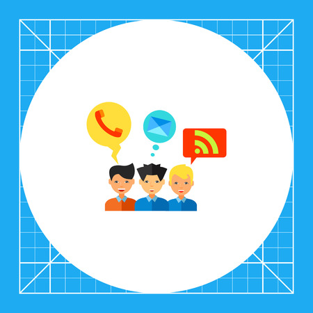 web feed: Young men with telephone, mail and web feed symbols in bubbles. Social media, network, communication. Social media concept. Can be used for topics like social media, communication, network