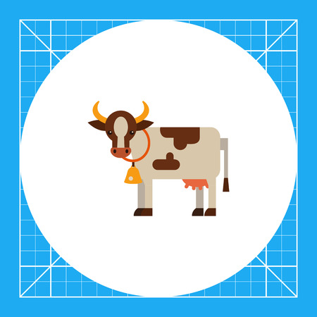 udders: Multicolored vector icon of white cow with brown spots, wearing collar with bell Illustration