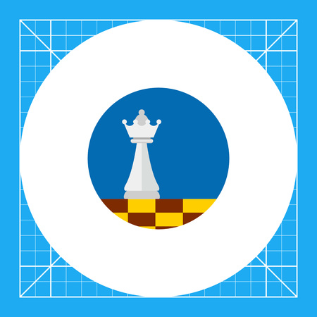 Multicolored vector icon of chess queen on chessboard on blue circle background representing business strategy concept Illustration