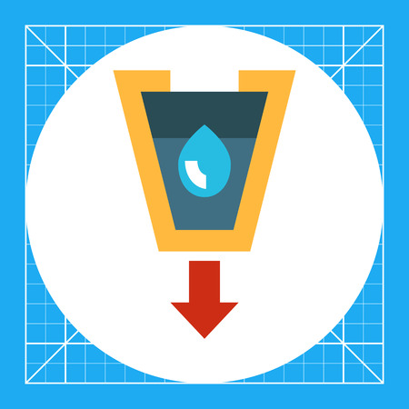 Vector icon of stylized funnel with liquid drop and arrow