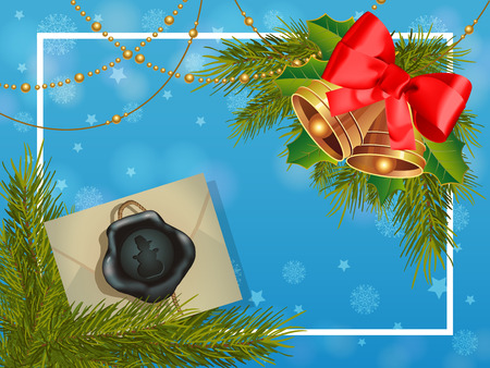 Christmas greeting card with frame, envelope, garlands and bells. For greeting cards, posters, leaflets and brochures.