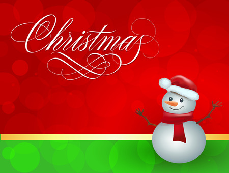 Christmas lettering. Christmas greeting card with smiling snowman. Handwritten text, calligraphy. For greeting cards, posters, leaflets and brochures. Vettoriali