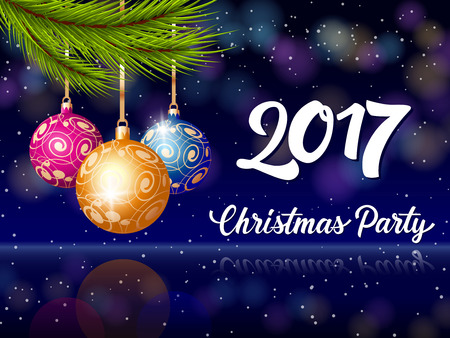 Christmas Party 2017 lettering. Christmas invitation with three balls and fir tree twigs. Handwritten text, calligraphy. For invitations, posters, leaflets and brochures. Vettoriali