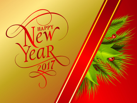 Happy New Year 2017 lettering. New Year Day greeting card with fir tree twigs and mistletoe. Typed text. For greeting cards, posters, leaflets and brochures.