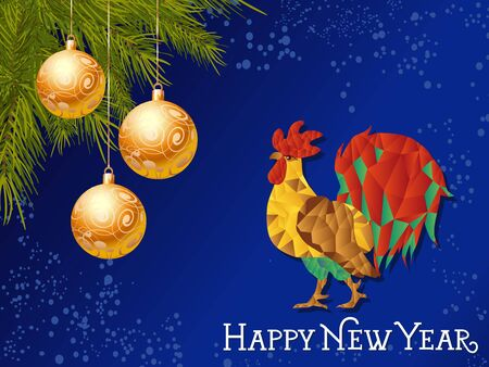 Happy New Year lettering. New Year Day greeting card with rooster and hanging balls. Typed text. For greeting cards, posters, leaflets and brochures. Illustration