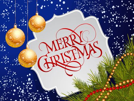 Merry Christmas lettering in figured frame. Christmas greeting card with baubles, fir tree twigs and bead garlands. Typed text. For greeting cards, posters, leaflets and brochures.
