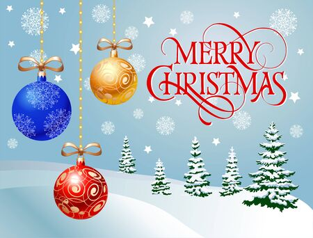 Merry Christmas lettering. Christmas greeting card with winter forest and hanging balls. Typed text. For greeting cards, posters, leaflets and brochures.