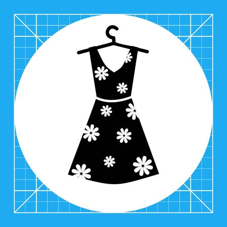 pinafore: Summer woman dress with floral print on hanger. Summer, beautiful, elegance. Dress concept. Can be used for topics like clothes, fashion, tourism. Illustration