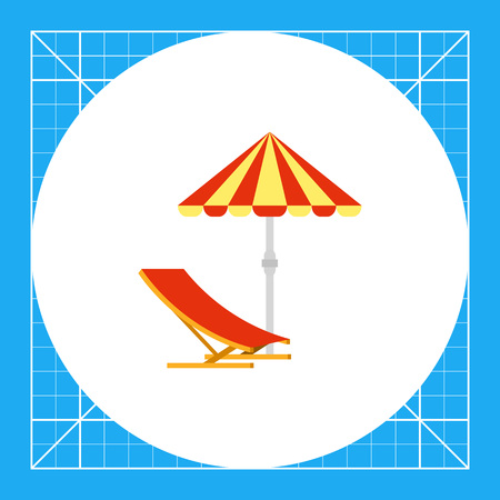 sunshade: Sun umbrella and deck chair. Sunshade, beach, sea. Sun umbrella concept. Can be used for topics like summer, vacation, tourism.