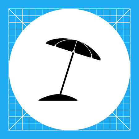 Sun umbrella on beach. Summer, heat, shade. Sunbathing concept. Can be used for topics like tourism, weather, nature.