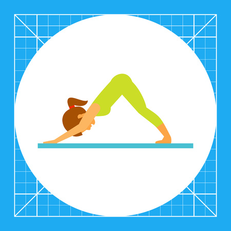 Woman doing yoga in svanasana pose, side view. Exercise, stretching, balance. Asana concept. Can be used for topics like yoga, health, fitness. Illustration
