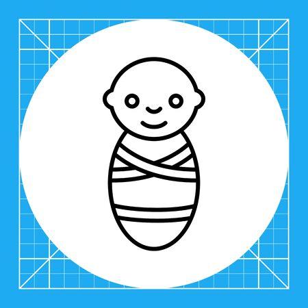 swaddled: Icon of swaddled newborn baby Illustration