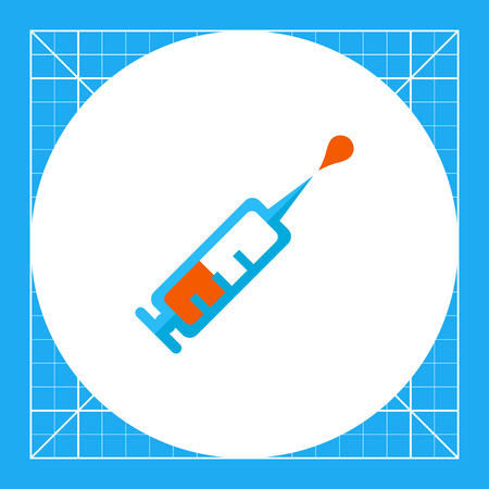 Icon of syringe with vaccine droplet
