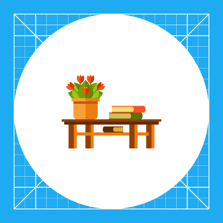 Multicolored vector icon of red potted flowers and three books on table Illustration