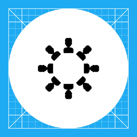 black people: Team vector icon. Black illustration of people in symbolizing teamwork Illustration