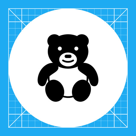 baby playing toy: Vector icon of cute teddy bear toy
