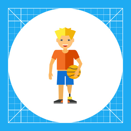 Teenage boy with prosthesis in basketball uniform and holding ball. Disability, sport, will. Prosthesis concept. Can be used for topics like disability, parathletics, medicine, sport. Illustration