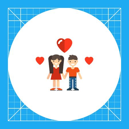 teenage girl: Multicolored vector icon of cartoon teenage girl and boy with heart pictures Illustration