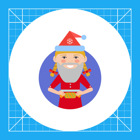 teenage girl: Female character, portrait of smiling teenage girl wearing Santa hat and fake beard, holding cracker Illustration