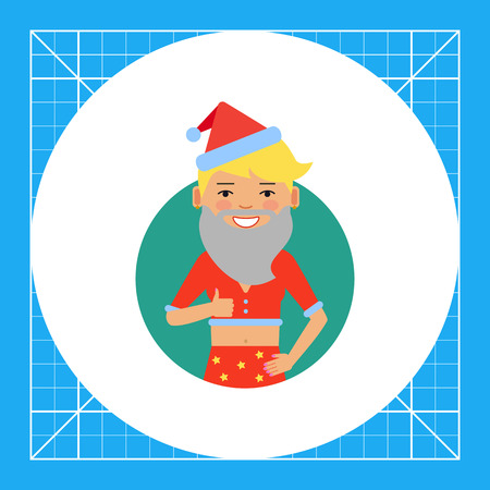 teenage girl: Female character, portrait of smiling teenage girl wearing Santa costume and showing approval gesture