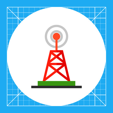 tv tower: Illustration of radio and television tower. Broadcast, television, marketing. Broadcast concept. Can be used for topics like marketing, broadcasting, advertising Illustration