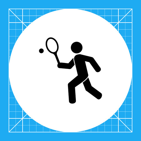 Man playing tennis. Game, leisure, fun. Tennis concept. Can be used for topics like sport, Olympic games, fitness. Illustration