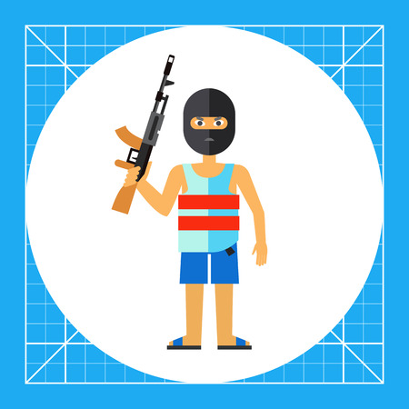 male killer: Male character in mask holding machine gun. Threat, killer, terror. Terrorist concept. Can be used for topics like terrorism, violence, criminalty. Illustration
