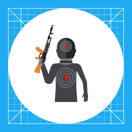 rampage: Terrorist silhouette with gun and targets on body. Threat, killer, terror. Terrorist concept. Can be used for topics like terrorism, violence, criminalty.