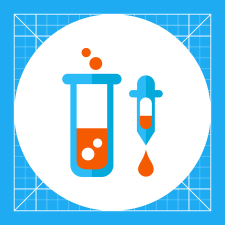 rubber tube: Icon of test tube with bubbling liquid and pipette with droplet