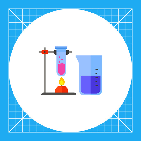 reagent: Burner heating test tube. Chemistry, flask, beaker, experiment. Chemistry concept. Can be used for topics like science, education, shool