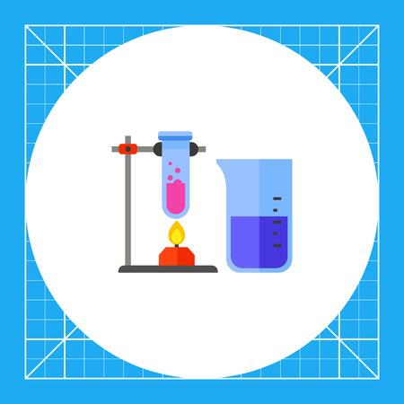 バーナー加熱試験管。化学、フラスコ、ビーカー、実験。化学のコンセプトです。科学、教育、学校のようなトピックに使用することができます。