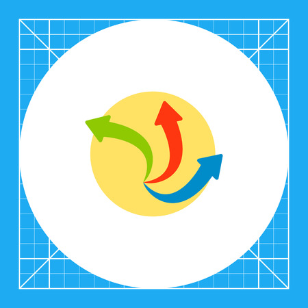 Illustration of three colorful arrows on circle background. Circular arrows, rotation, direction. Process concept. Can be used for topics like process, presentation, technology