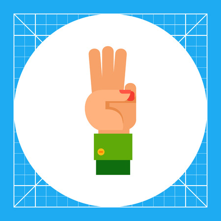 nonverbal: Illustration of left hand with three fingers up. Hand gesture, number, fingers. Hand gesture concept. Can be used for topics like hand gesture, counting, nonverbal communication