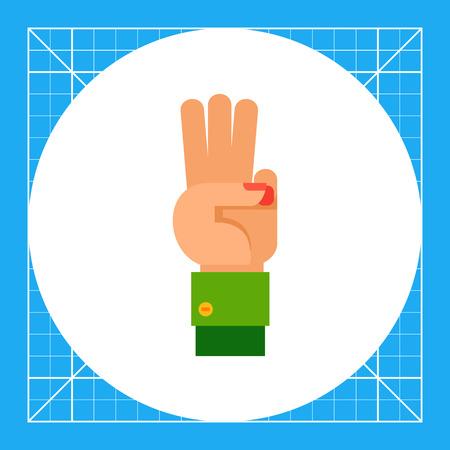 comunicacion no verbal: Ilustración de la mano izquierda con tres dedos hacia arriba. gesto de la mano, número, los dedos. concepto gesto de la mano. Puede ser utilizado para temas como el gesto de la mano, el conteo, la comunicación no verbal