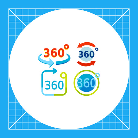 representations: Set of representations of three hundred and sixty degrees rotation. Mathematics, geometry, trigonometry. Three hundred and sixty degrees concept. Can be used for topics like study, teaching, education, mathematics. Illustration