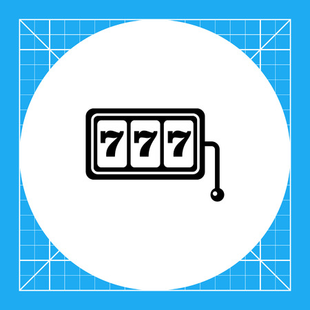 display machine: Monochrome simple icon of three seven jackpot display with slot machine handle Illustration