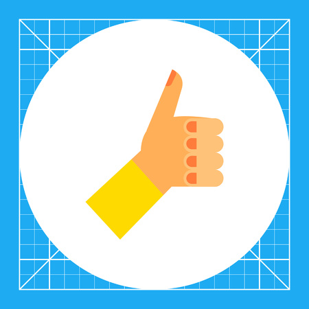 puños cerrados: Thumb up icon. Multicolored illustration of hand with thumb up Vectores