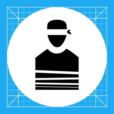 symbol victim: Tied person with blindfold. Danger, terror, violence. Victim concept. Can be used for topics like terrorism, war, kidnapping.