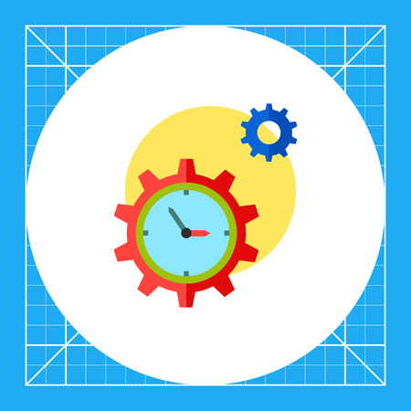 punctuality: Clock in form of gear and another gear with sun in background. Mechanism, efficiency, punctuality. Time management concept. Can be used for topics like business, management, planning, banking.