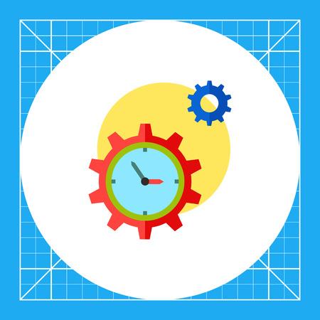 puntualidad: Reloj en forma de rueda dentada y otra marcha con el sol en el fondo. Mecanismo, la eficiencia, la puntualidad. Concepto de gestión del tiempo. Puede ser utilizado para temas como los negocios, la gestión, la planificación, la banca.
