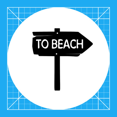 to spend the summer: Vintage wooden arrow sign To beach. Summer, sea, direction. Beach concept. Can be used for topics like tourism, vacation, leisure.
